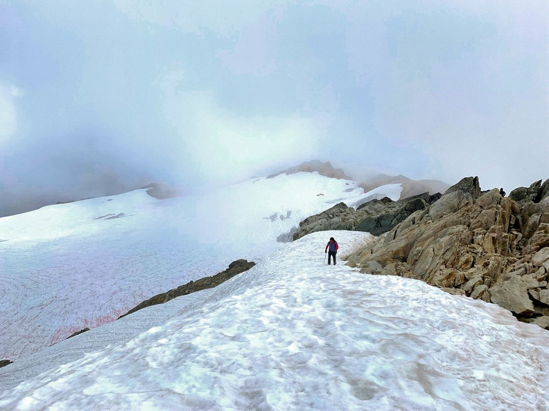 Keep the snowfield on the climbers right while ascending the peak