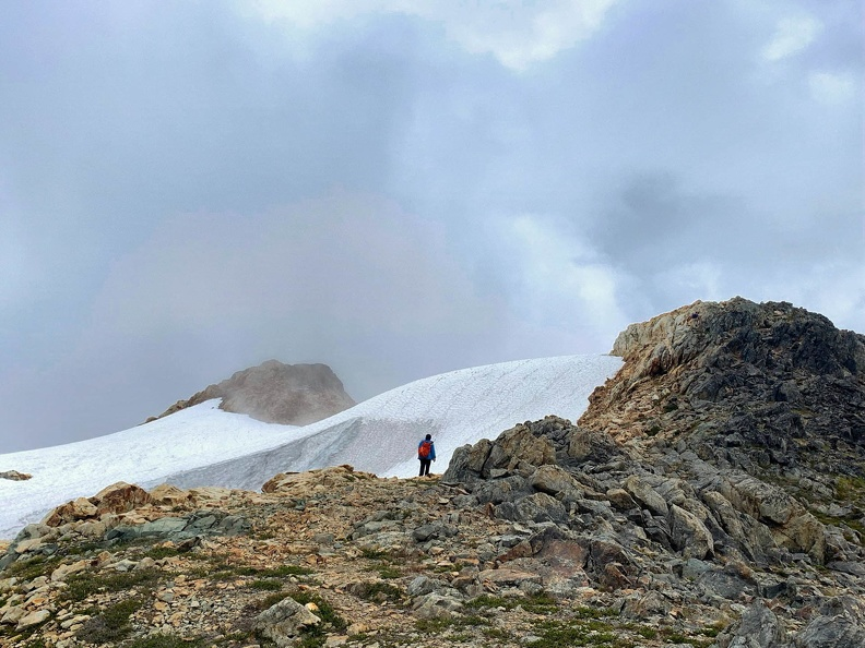 The snowfield is on climbers left on the descent